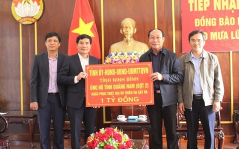 Ninh Bình ủng hộ đồng bào Quảng Nam và Thừa Thiên Huế khắc phục thiên tai