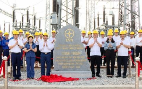 Lễ gắn biển công trình đường dây 110KV Kim Sơn - Nghĩa Hưng