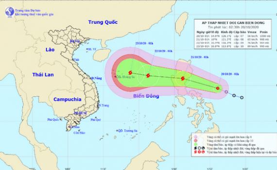 Áp thấp nhiệt đới giật cấp 9 đang hướng vào Biển Đông