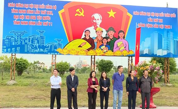 Kiểm tra tuyên truyền Đại hội Đảng bộ tỉnh lần thứ XXII tại Hoa Lư và TP Ninh Bình
