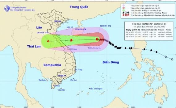 Sáng 25/10, bão số 8 sẽ vào vùng biển Hà Tĩnh đến Quảng Trị, giật cấp 10
