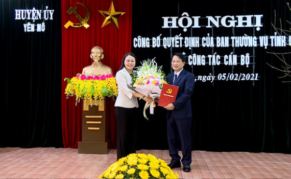 Công bố quyết định bổ nhiệm Bí thư Huyện ủy Yên Mô