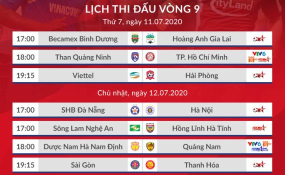Lịch thi đấu V-League 2020 hôm nay (11/7): HAGL đấu Bình Dương