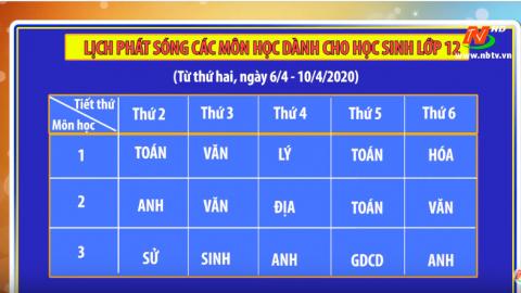 Lịch phát sóng các môn học dành cho học sinh lớp12 - Từ ngày 6/4- 10/4/2020