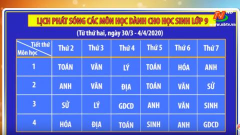 Lịch phát sóng các môn học dành cho học sinh lớp 9 - Từ ngày 30/3 - 4/4/2020