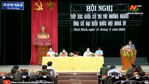Ứng cử viên ĐBQH khóa XV, đơn vị bầu cử số 1 tiếp xúc cử tri Bộ CHQS tỉnh.
