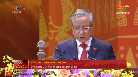 Ủy viên Bộ Chính trị, Thường trực Ban Bí thư TW Trần Quốc Vượng phát biểu tại Đại hội XIII của Đảng